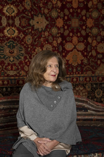 """Lena Serafetinidi traveled to the East to countries such as Turkey, Iran, Afghanistan and Russia choosing pieces that """"really speak, have a soul"""". This quest has resulted in a collection of rare carpets, both classic and modern designs, that are hard to find and sought after by connoisseurs"""